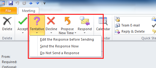 Respond to a meeting request: Outlook 2010 and 2013