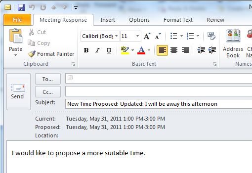 Respond to a meeting request: Outlook 2010 and 2013 ...