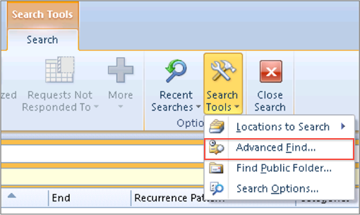 Search Calendar: Outlook 2010 And 2013