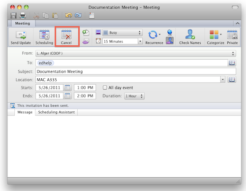 Cancel meeting request: Outlook 2011 for Mac - University ...