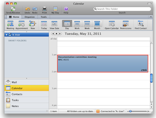 Change meeting request: Outlook 2011 for Mac - University of