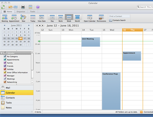 Import an iCal calendar: Outlook 2011 for Mac - University