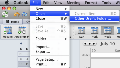 Open shared calendar: Outlook 2011 for Mac - University of