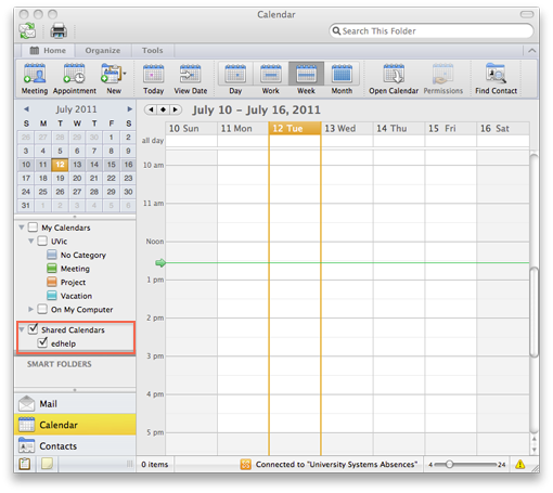 open shared calendar  outlook 2011 for mac