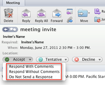Respond to a meeting request: Outlook 2011 for Mac - University of