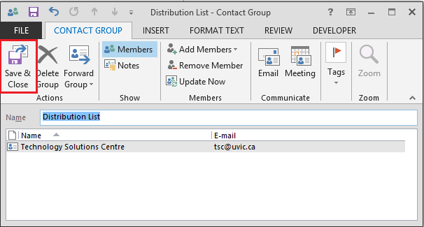 Create a distribution list: Outlook 2013 - University of Victoria