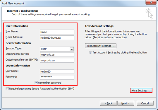 Configure your UVic email with Outlook 2010/2013