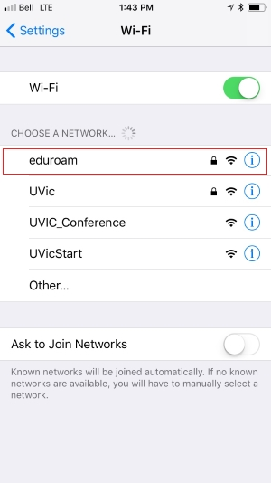 eduroam iphone