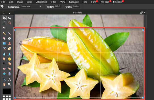 use crop tool to crop image
