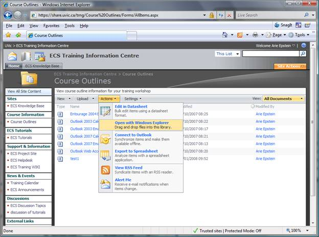 connect your document library to windows explorer university of